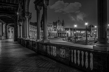 Schwarz-Weiß-Plaza de Espana in Sevilla, Spanien von Rene Siebring