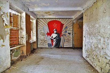 Wandmalerei eines russischen Soldaten von ilja van rijswijk