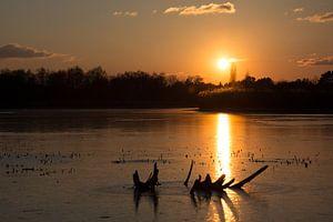 bevroren landschap tijdens zonsondergang van