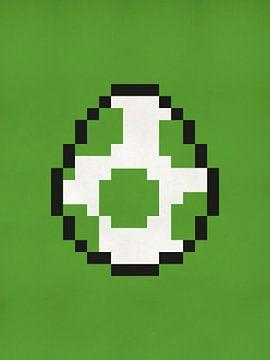 Œuf de Yoshi des jeux Mario - Pixel Art abstrait