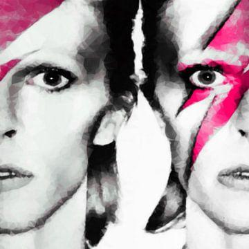 Motiv David Portrait Bowie Soft Kubismus  - Pink van Felix von Altersheim