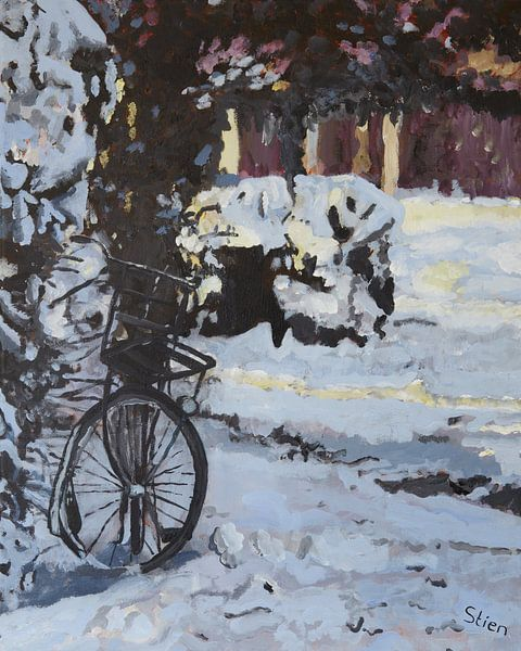 Fiets in de sneeuw van Stien Art