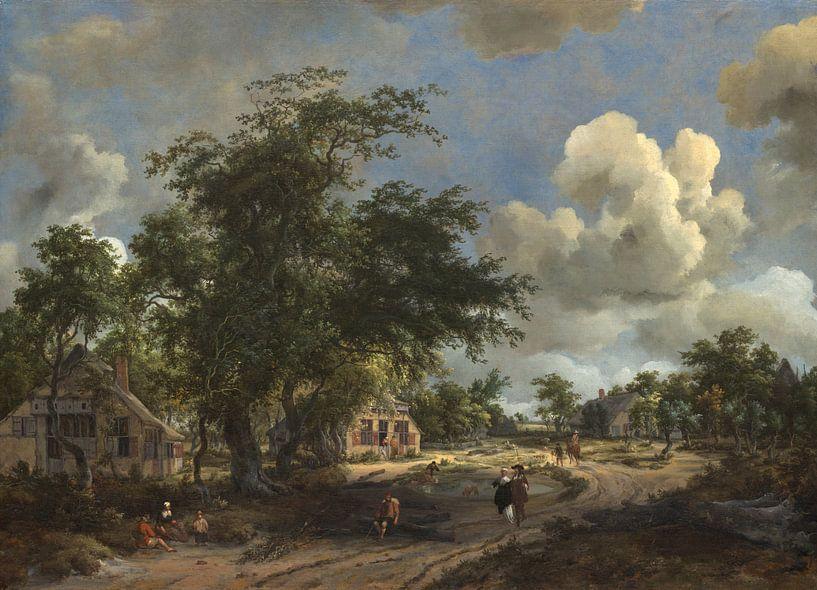 Ein Blick auf eine hohe Straße, Meindert Hobbema von Meesterlijcke Meesters