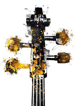 Violoncello 1 muziekkunst goud en zwart #violoncello #muziek van JBJart Justyna Jaszke