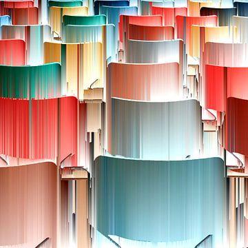 Pastel gekleurde stoelen in de Kunsthal van Saskia Nelissen