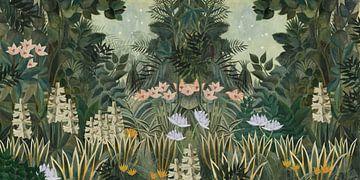 Wunderschönes botanisches Bild des Dschungels mit Farnen und Blumen von Studio POPPY
