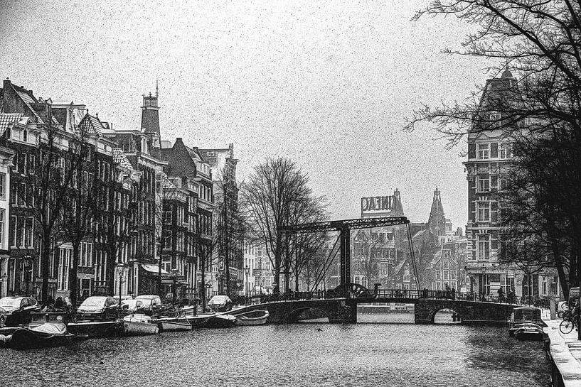 Binnenstad van Amsterdam in de Winter Zwart-Wit van Hendrik-Jan Kornelis