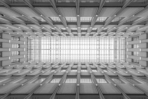 Het architectonisch plafond van het Blaak House in Rotterdam van MS Fotografie