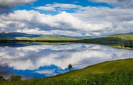 Reflectie op een meer in het noorden van Zweden