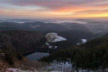 Belle vue du Feldberg dans la Forêt Noire, Allemagne au lever du soleil. sur Jos Pannekoek