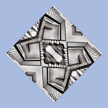 Trappenhuis in zwart-wit van Michel Groen