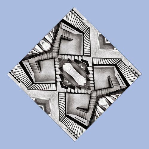 Trappenhuis in zwart-wit van