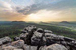 Elbsandsteingebirge - Panoramablick vom Berg von