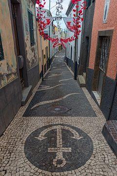 een oude straat met bloem versieringen van Robin van Maanen