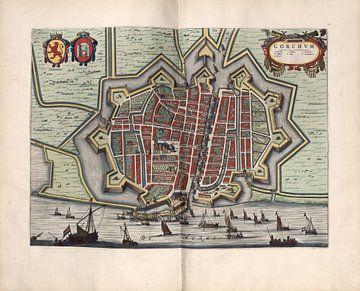 Gorinchem, Gorkum oder Gorcum, Stadtplan Joan Blaeu 1652