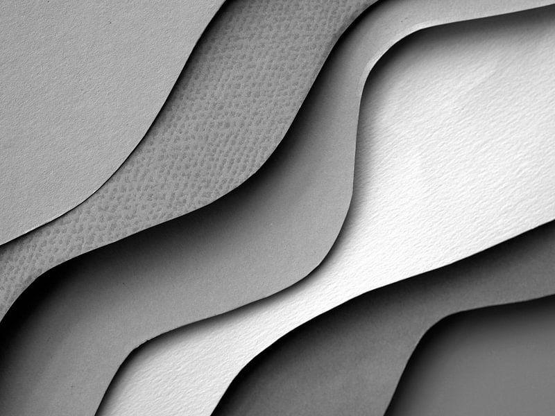 Grijze abstractie golven van Dreamy Faces