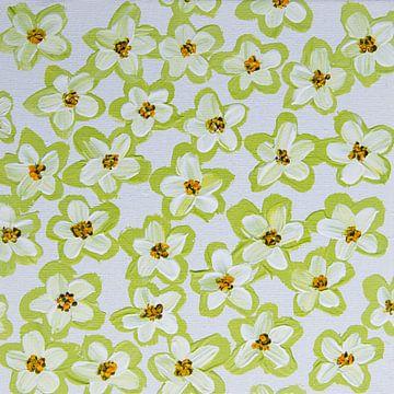 Blumen retro pastellgrün weiß braun gelb von Bianca ter Riet