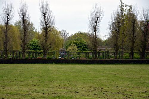 Uitzicht op de pergola's in het Pioenpark in Groningen