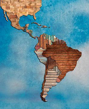 Landkaart Zuid-Amerika hout van Rene Ladenius Digital Art