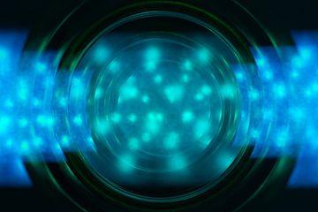 Kreis in Meeresfarben mit Wellen aus Licht und Ton von Lisette Rijkers
