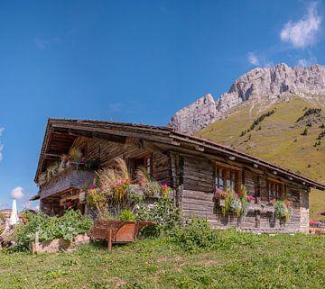 Berghütte auf dem Col de Aravis, La Clusaz, Haute-Savoie, Frankreich, von Rene van der Meer