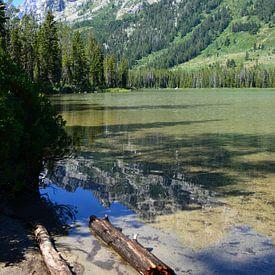 Spiegeling bergen in meer Grand Teton Verenigde State van My Footprints