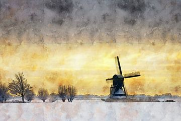 Aquarell mühle Niederlande von Peter Bolman