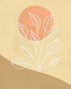 Minimalistische Landschaft mit einer Blattpflanze in hellen Farben