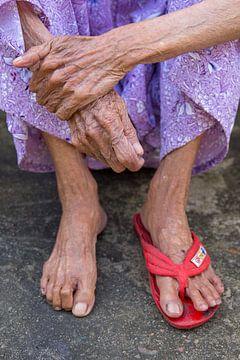 Runzlige Hände und Füße eines älteren Bettlers von Sofie Bogaert