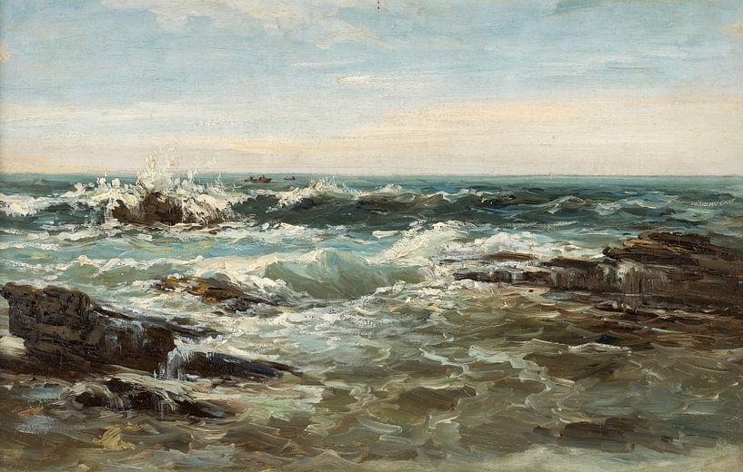 Carlos de Haes-Choppy Ocean Golf Landschaft, Antike Landschaft von finemasterpiece