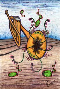 Kleurrijke fantasie tekening van een trompet van Gabi Gaasenbeek