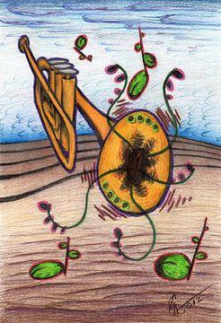 Kleurrijke fantasie tekening van een trompet von Gabi Gaasenbeek