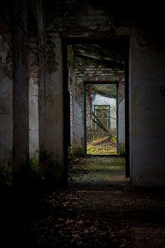 Blick durch Türöffnungen in einem verlassenen Gebäude von Suzanne Schoepe