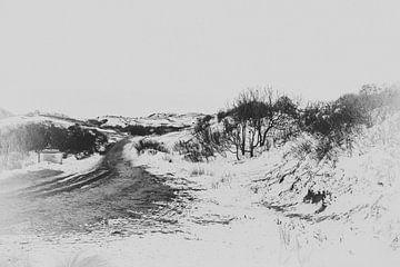 Duinen en sneeuw Egmond aan Zee van Annette van Dijk-Leek