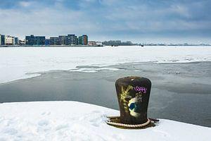 Winter time in the city port of Rostock, Germany van