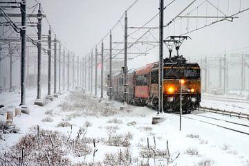 Trein in sneeuwstorm bij Amsterdam Centraal van Nisangha Masselink