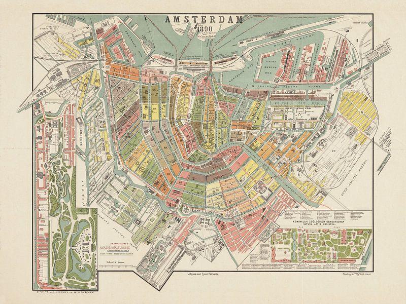 Plattegrond Amsterdam - 1890 van Bibliotheek Beeld