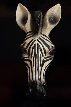 Houten hoofd zebra van Bobsphotography