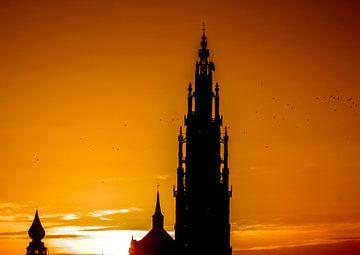 Antwerpen Kathedraal zonsondergang von Serge Meeter