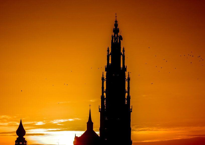 Antwerpen Kathedraal zonsondergang van Serge Meeter