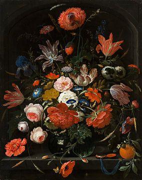 Bloemen in een glazen vaas sur