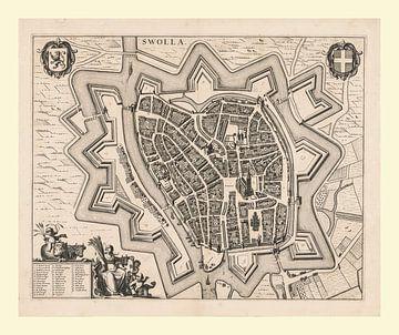 Karte von Zwolle, ca. 1657, mit weißem Rahmen von Gert Hilbink