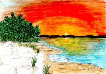Zonsondergang op het strand van Sandra Steinke