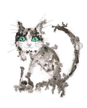 Schwarze und weiße Katze in nasser Tinte von Bianca Wisseloo