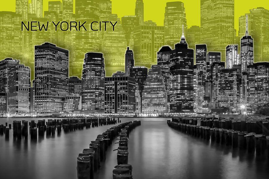 MANHATTAN Skyline | Graphic Art | geel van Melanie Viola