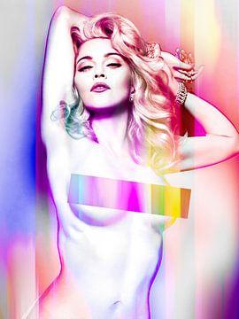 Madonna Wahrheit oder Nackt wagen Abstraktes Purpurrot von Art By Dominic