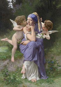 Mädchen mit Perlenohrring und den Engeln