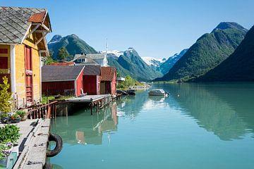 Fjord met boothuis en bergen in Noorwegen van