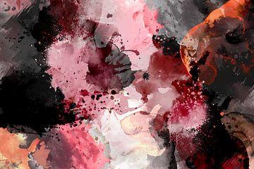 Moderne, abstrakte digitale Aquarellkunst in Schwarz Rot Orange Weiß von Art By Dominic