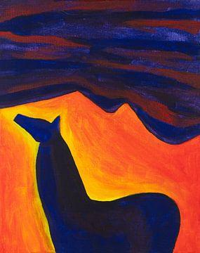 paard in de nacht (1) van Ivonne Sommer